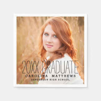 Modern Typography Photo Graduation Party Paper Napkin