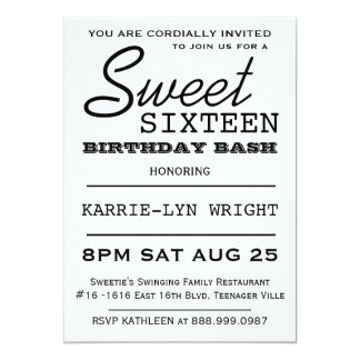 Modern Typography Poster Style Sweet 16 Party Card