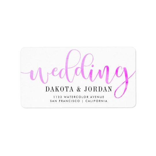 Modern Typography   Purple Watercolor Wedding Label