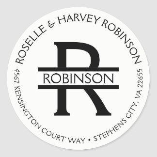 Modern Typography Round Circular Name and Address Classic Round Sticker