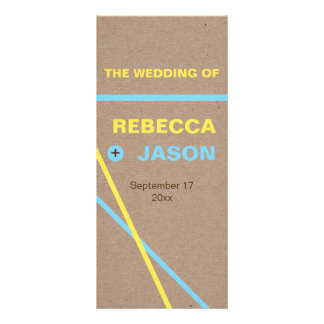 Modern typography & stripes wedding program