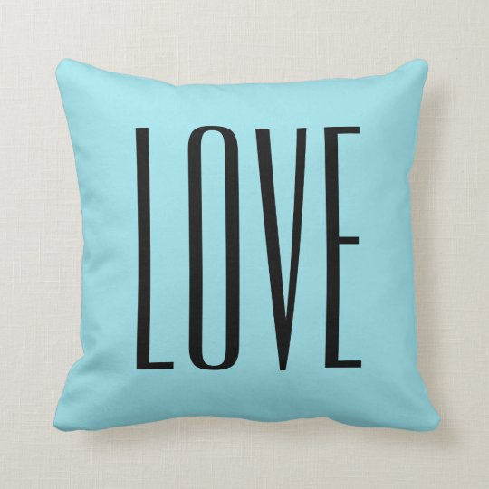Modern Typography Turquoise Blue Love Throw Pillow