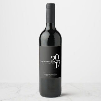 Modern Typography Wedding Date Wine Label