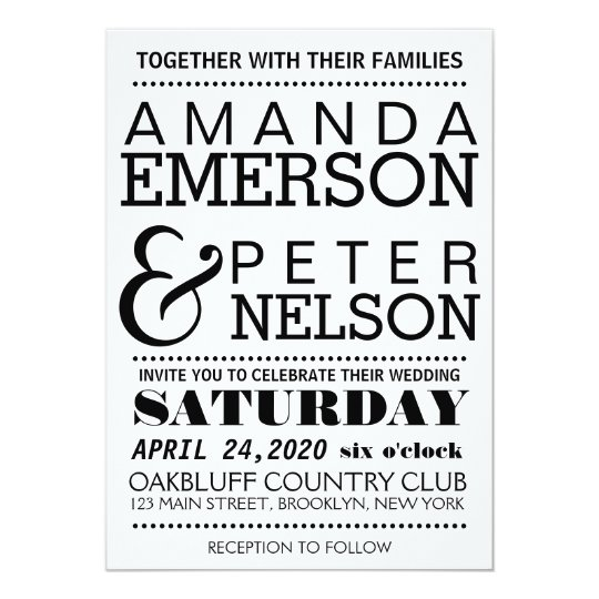 Modern Typography Wedding Invitation