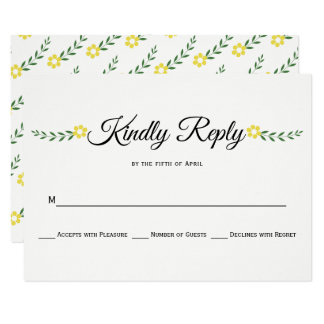 Modern typography yellow floral wedding RSVP reply Card
