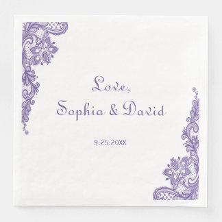 Modern Ultra Violet Lace Wedding Disposable Napkins