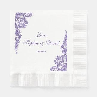 Modern Ultra Violet Lace Wedding Paper Napkins