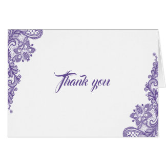 Modern Ultra Violet Lace Wedding Thank you Card