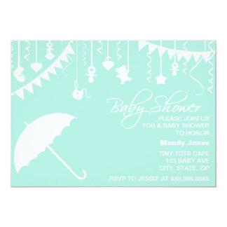 Modern umbrella mint baby shower invitation