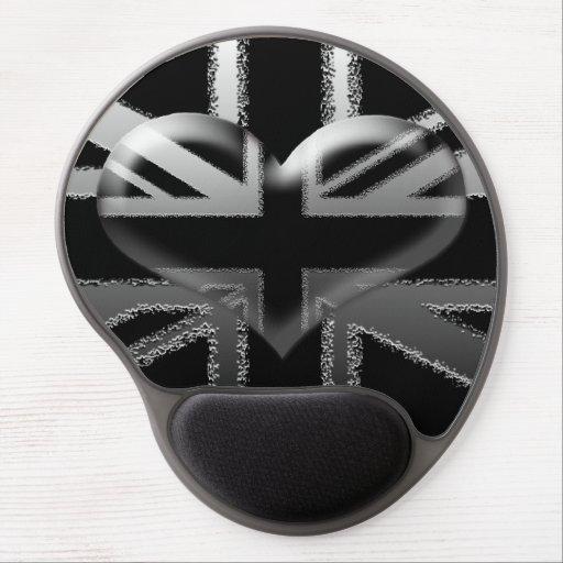 Modern Union Jack Flag and Heart Gel Mousepad