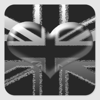 Modern Union Jack Flag and Heart Square Sticker