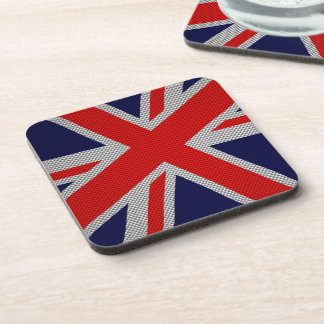 Modern Union Jack on Carbon Fiber Style Print Drink Coasters