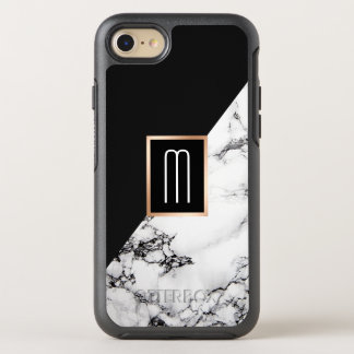 Modern Unique Black White Marble Texture Monogram OtterBox Symmetry iPhone 8/7 Case