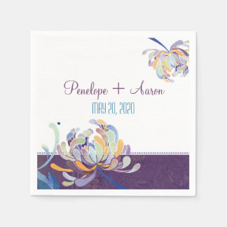 Modern Unique Floral Plum Wedding Paper Napkins