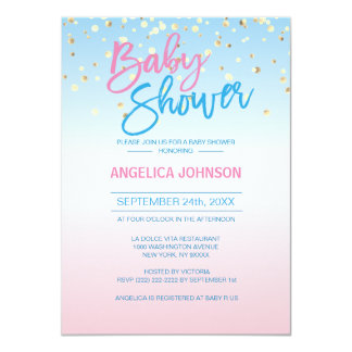 Modern Unique Gender Reveal Gold Baby Shower Party Card
