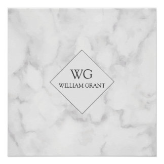 Modern Upscale Business Monogram on White Marble Perfect Poster