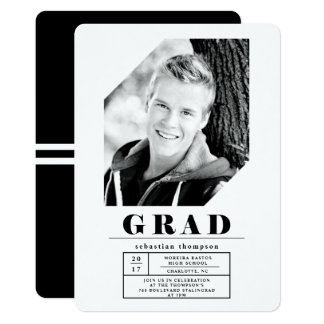 Modern Urban Geometric Photo Graduation Party Card