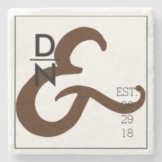 Modern & Urban Minimalist | Maroon Ampersands Stone Coaster
