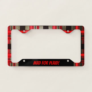 Modern Urban Retro Plaid Tartan Black Red License Plate Frame