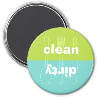 Modern utensil dirty clean blue green dishwasher 3 inch round magnet