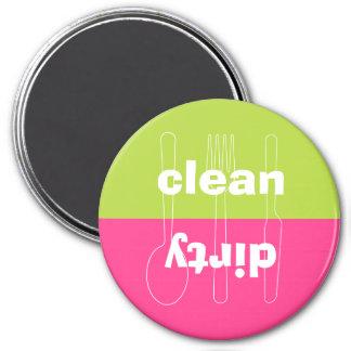 Modern utensil dirty clean preppy pink dishwasher 3 inch round magnet