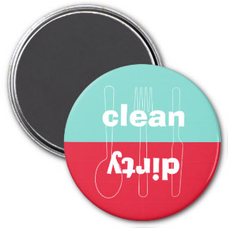 Modern utensil dirty clean red blue dishwasher 3 inch round magnet