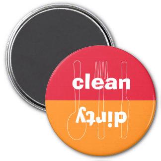 Modern utensil dirty clean red orange dishwasher 3 inch round magnet