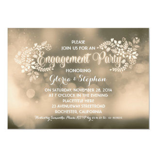 Modern vanilla brown floral engagement party card