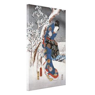 Modern Version of the Tale of Genji in Snow Scene Canvas Print