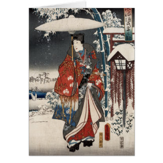 Modern Version of the Tale of Genji in Snow Scene Card