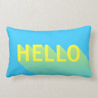 Modern Vibrant Blue and Yellow Hello Typography Lumbar Pillow