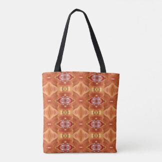 Modern Vibrant Peach Orange Fall Tribal Pattern Tote Bag