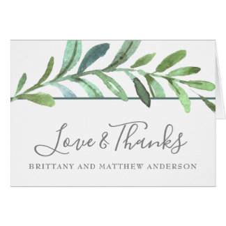 Modern Vines Botanical Wedding Thank You Card