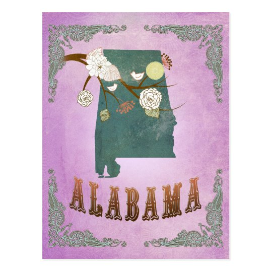 Modern Vintage Alabama State Map- Grape Purple Postcard