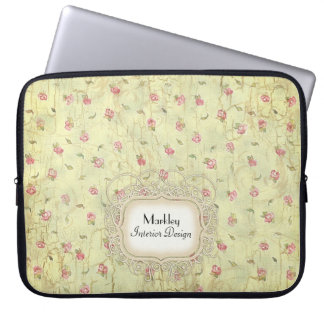 Modern Vintage Art Roses Tea Stained Aged Crackle Laptop Sleeve