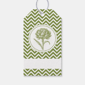 Modern Vintage artichoke and chevron art Gift Tags