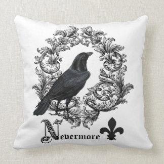 modern vintage black halloween crow pillows