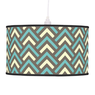 Modern Vintage Blue Cream Chevron Abstract Pattern Hanging Pendant Lamp