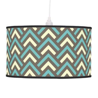 Modern Vintage Blue Cream Chevron Abstract Pattern Hanging Pendant Lamp