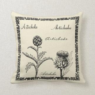 Modern vintage botanical plants illustration throw pillow