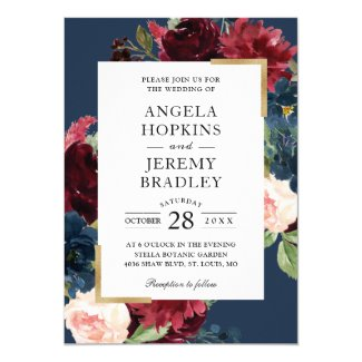 Modern Vintage Burgundy Floral Navy Blue Wedding Card