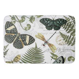 modern vintage butterflies and dragonflies bath mat