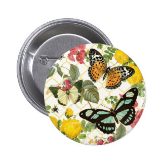 modern vintage butterfly garden pinback buttons