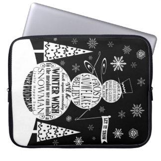 modern vintage chalkboard snowman typography art laptop sleeve