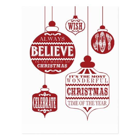 modern vintage Christmas ornaments Postcard