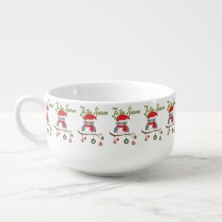 modern vintage christmas woodland owl soup mug