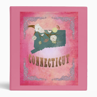 Modern Vintage Connecticut State Map- Candy Pink Vinyl Binder
