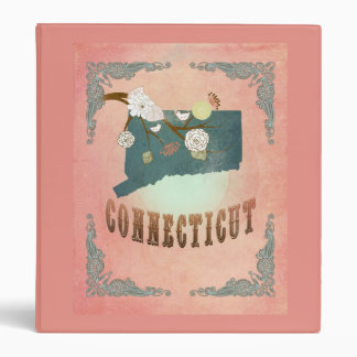 Modern Vintage Connecticut State Map- Pastel Peach Vinyl Binders