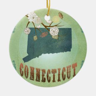 Modern Vintage Connecticut State Map – Sage Green Ceramic Ornament