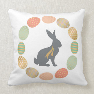 Modern vintage Easter bunny and eggs Throw Pillow
